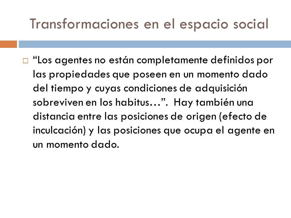 Transformaciones en el espacio social Los agentes no están completamente definidos por las propiedades que poseen en un momento dado del tiempo y cuya