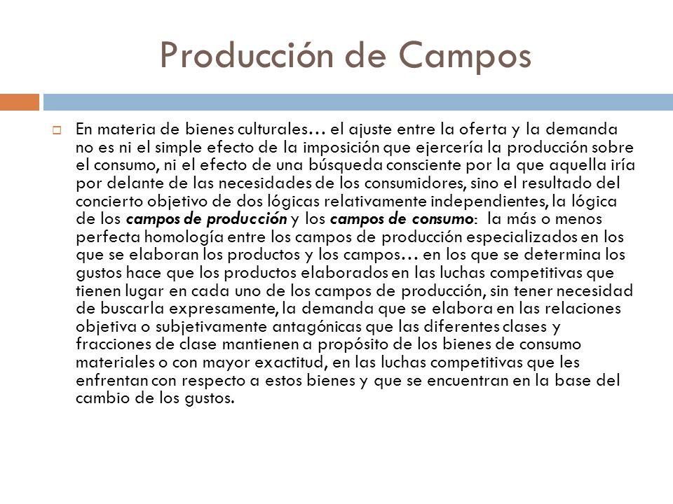 Producción de Campos En materia de bienes culturales… el ajuste entre la oferta y la demanda no es ni el simple efecto de la imposición que ejercería