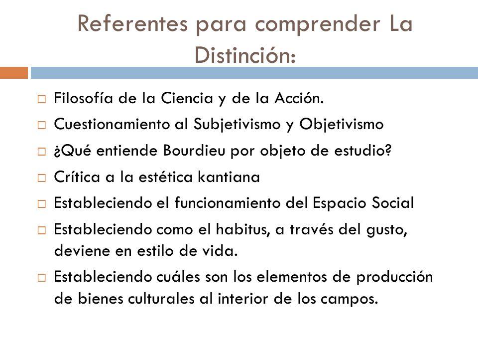 Referentes para comprender La Distinción: Filosofía de la Ciencia y de la Acción. Cuestionamiento al Subjetivismo y Objetivismo ¿Qué entiende Bourdieu