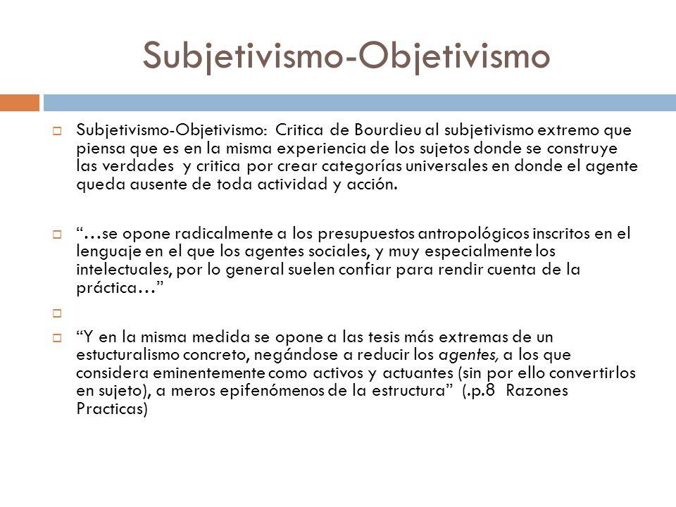 Subjetivismo-Objetivismo Subjetivismo-Objetivismo: Critica de Bourdieu al subjetivismo extremo que piensa que es en la misma experiencia de los sujeto