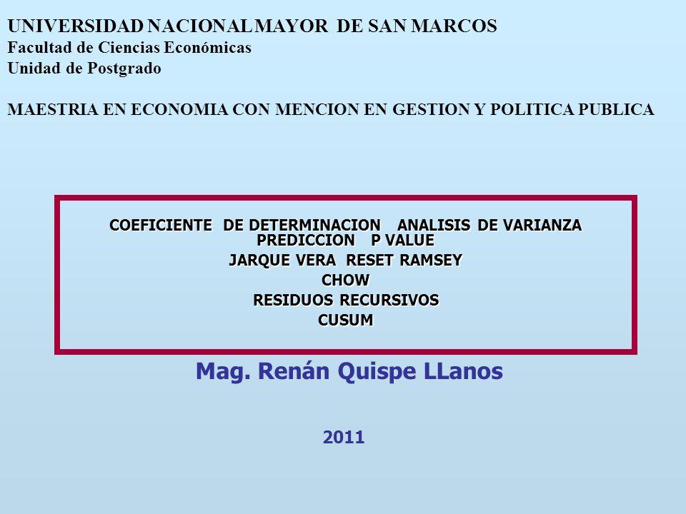 COEFICIENTE DE DETERMINACION ANALISIS DE VARIANZA PREDICCION P VALUE JARQUE VERA RESET RAMSEY CHOW RESIDUOS RECURSIVOS CUSUM Mag. Renán Quispe LLanos
