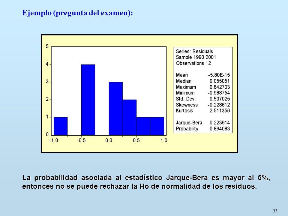 33 Ejemplo (pregunta del examen): La probabilidad asociada al estadístico Jarque-Bera es mayor al 5%, entonces no se puede rechazar la Ho de normalida