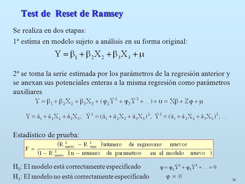 34 Test de Reset de Ramsey Se realiza en dos etapas: 1º estima en modelo sujeto a análisis en su forma original: 2º se toma la serie estimada por los