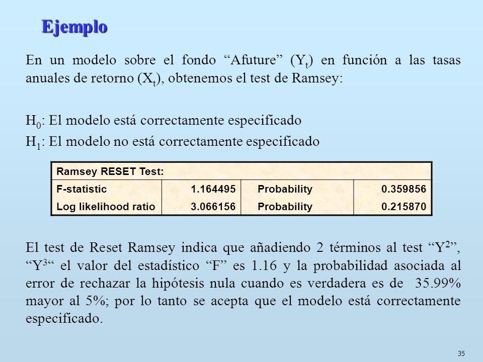 35 Ejemplo En un modelo sobre el fondo Afuture (Y t ) en función a las tasas anuales de retorno (X t ), obtenemos el test de Ramsey: H 0 : El modelo e