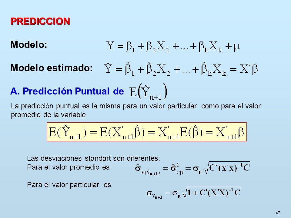 47 PREDICCION Modelo: Modelo estimado: A. Predicción Puntual de La predicción puntual es la misma para un valor particular como para el valor promedio