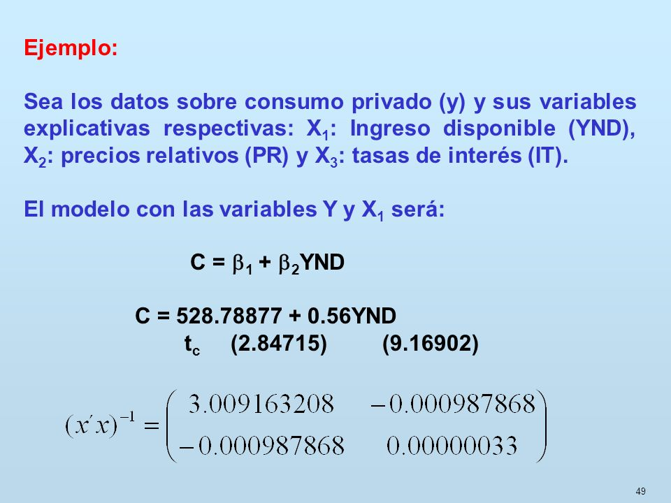 49 Ejemplo: Sea los datos sobre consumo privado (y) y sus variables explicativas respectivas: X 1 : Ingreso disponible (YND), X 2 : precios relativos