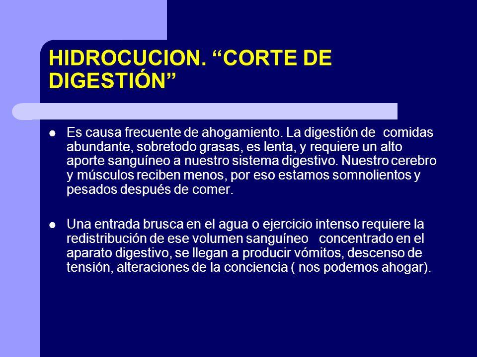 HIDROCUCION. CORTE DE DIGESTIÓN Es causa frecuente de ahogamiento. La digestión de comidas abundante, sobretodo grasas, es lenta, y requiere un alto a
