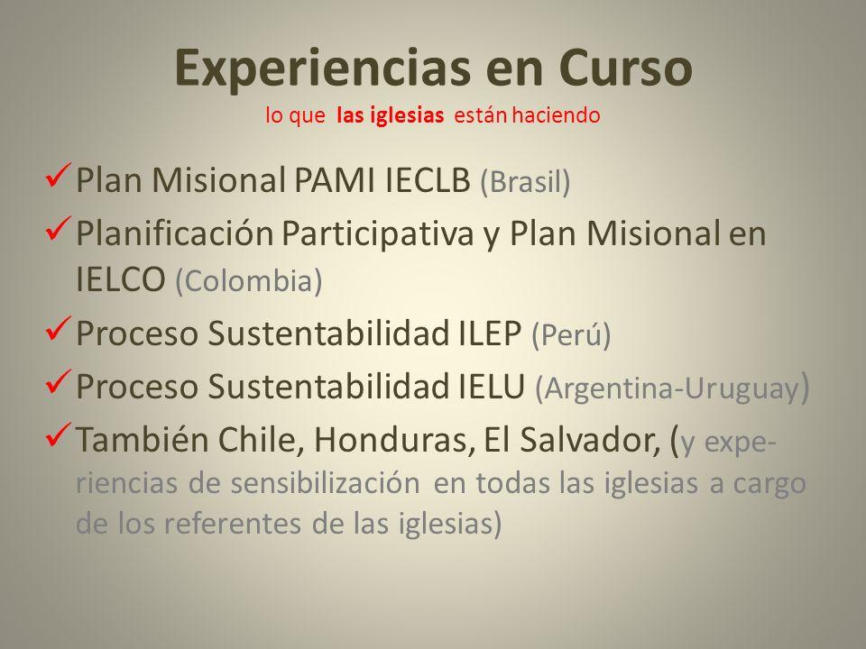 Experiencias en Curso lo que las iglesias están haciendo Plan Misional PAMI IECLB (Brasil) Planificación Participativa y Plan Misional en IELCO (Colom