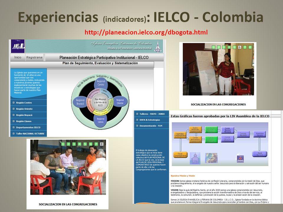 Experiencias (indicadores) : IELCO - Colombia http://planeacion.ielco.org/dbogota.html