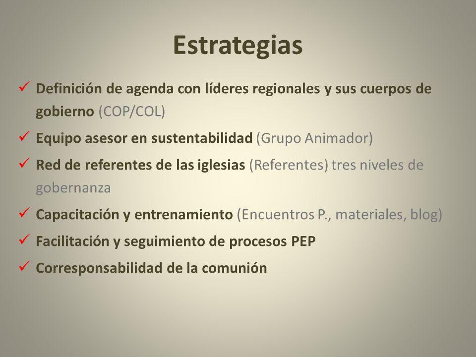Estrategias Definición de agenda con líderes regionales y sus cuerpos de gobierno (COP/COL) Equipo asesor en sustentabilidad (Grupo Animador) Red de r