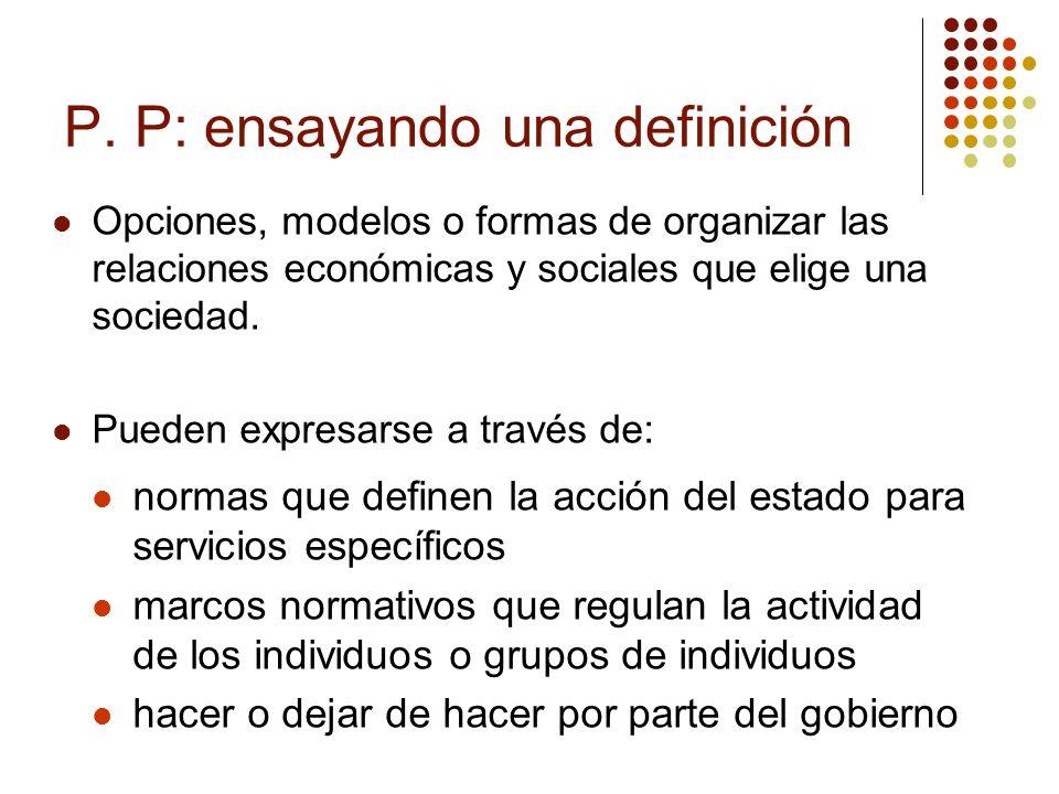 PP: Oportunidad de hoy … restricción de mañana Contrato social puede variar Las políticas públicas: sirven para afianzar o modificar el contenido del contrato social.