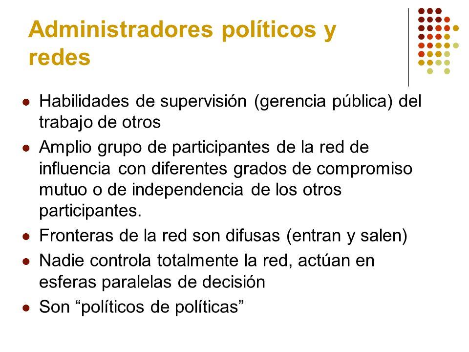 Redes Articulan tendencias que podrían ser contradictorias: Participación amplia en PP (organizaciones) Especialización tecnocrática.