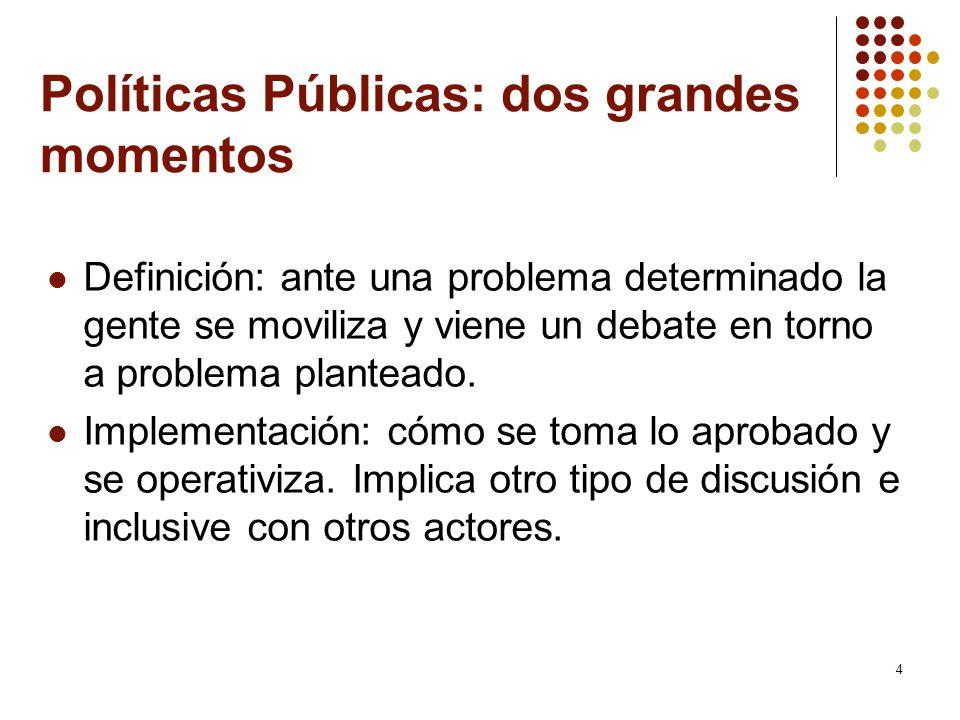 5 Perspectivas de análisis de políticas públicas Entender políticas públicas como: Acciones de gobierno: se entiende la política pública como acciones gubernamentales en el marco de estados nación.