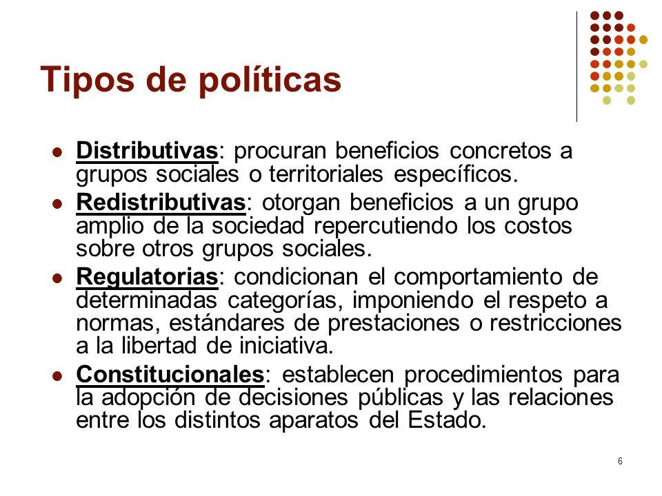 Características Juicio de valor sobre en qué y cómo debe actuar el Estado para cumplir sus fines en un determinado momento.