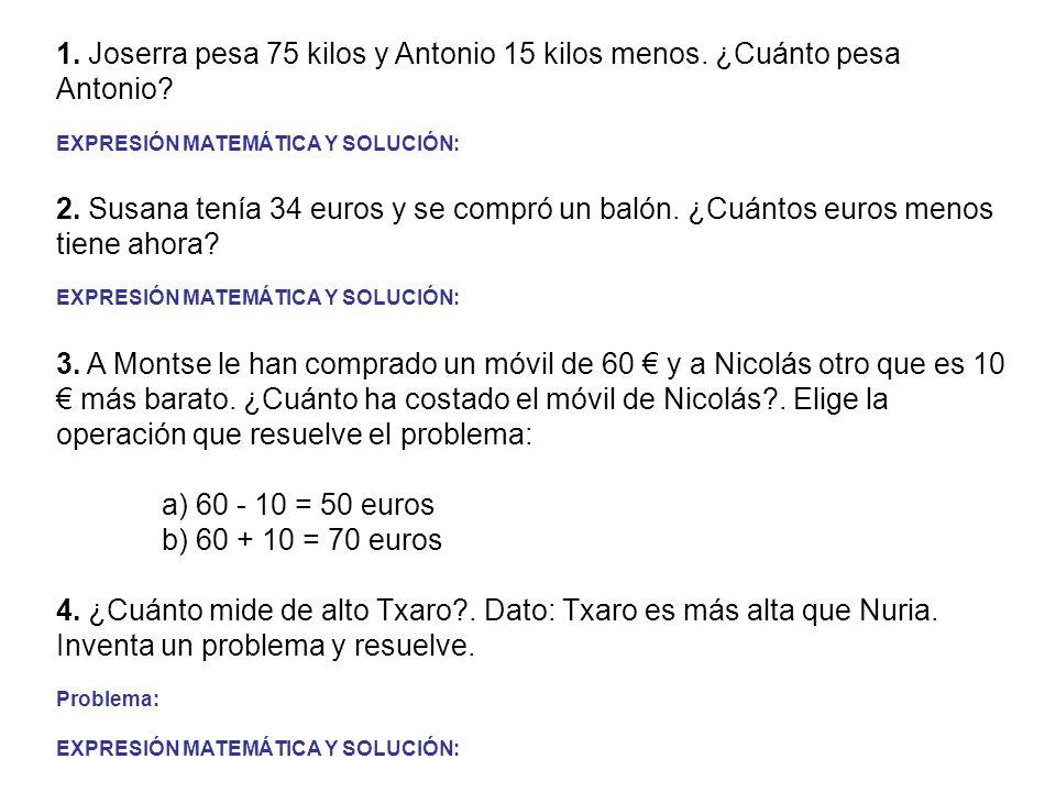 1. Joserra pesa 75 kilos y Antonio 15 kilos menos. ¿Cuánto pesa Antonio? EXPRESIÓN MATEMÁTICA Y SOLUCIÓN: 2. Susana tenía 34 euros y se compró un baló