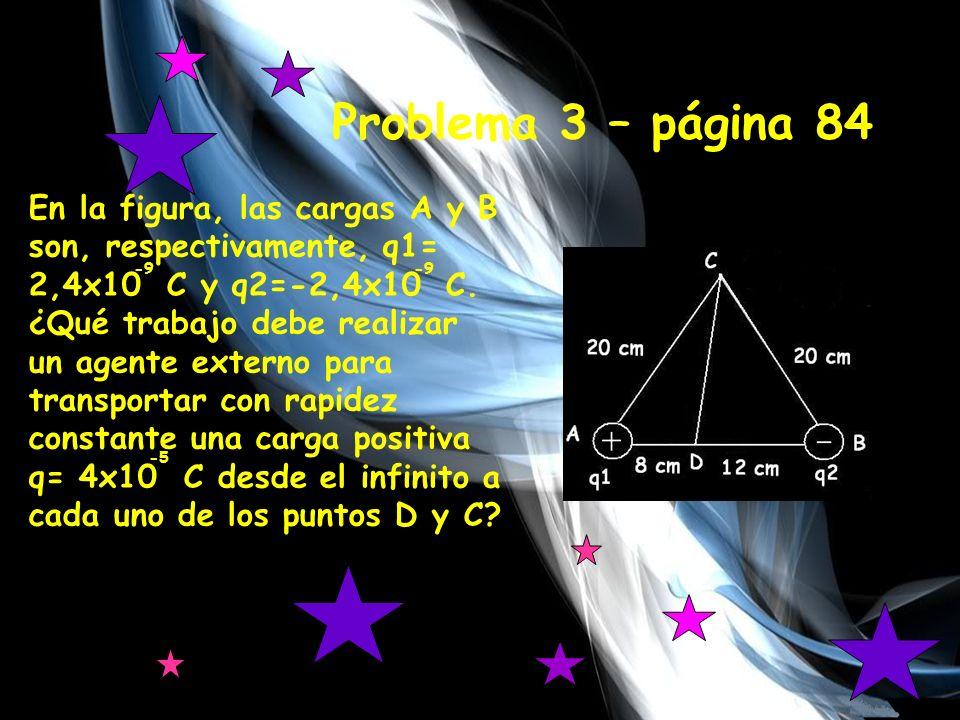 Primero, calculamos el potencial electrico en el puntoD V D1 = K · q d 9x10 · 2,4x10 = 0,08 = 270 V 9 -9 V D2 = K · q d 9x10 ·-2,4x10 = 0,12 = -180 V 9 -9 V t = V D1 + V D2 = 270 – 180 = 90 V Calculamos el trabajo que se deberá realizar hasta el punto D desde el infinito.