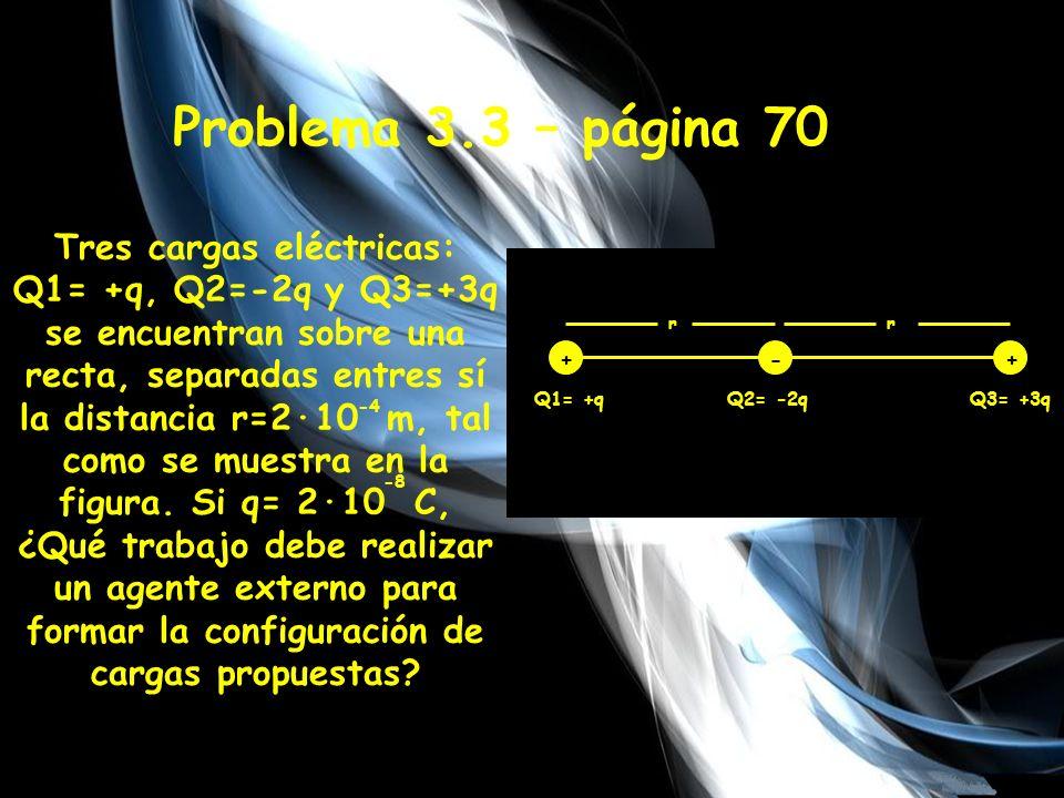 En este caso, el trabajo es equivalente a la suma de las energías potenciales eléctricas del sistema, es decir, hallar el potencial eléctrico de cada carga con respecto a las demás y sumarlas Para q1-q2=U12= K·q1·q2 = 9·10 n·m·(2·10 c)·(-2·2·10 c ) = 2·10 -8 r 9 -0,036 Joules -8 -4 2 c 2 Para q1-q3= U13= K·q1·q3 = r 9·10 n·m·(2·10 c)·(3·2·10 c ) = 2·(2·10 ) 9 2 c 2 0,027 Joules -8 -4 Para q2-q3=U23= K·q2·q3 = r 9·10 n·m·(-2·2·10 c)·(3·2·10 c )= -8 2 2·10 -4 2 c -0,108 Joules UT: (-0,036 -0,108 + 0,027) J =-0,117 J UT=W (por lo tanto ya hayamos el trabajo)