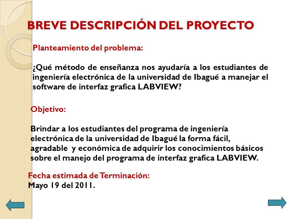 BREVE DESCRIPCIÓN DEL PROYECTO Objetivo: Brindar a los estudiantes del programa de ingeniería electrónica de la universidad de Ibagué la forma fácil,