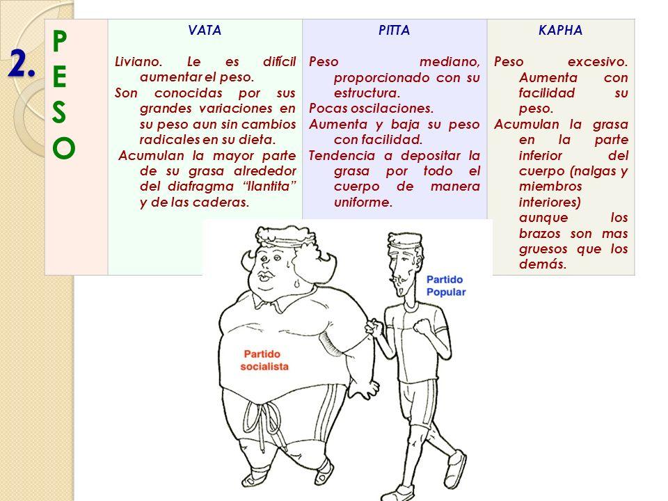 2. PESOPESO VATA Liviano. Le es difícil aumentar el peso. Son conocidas por sus grandes variaciones en su peso aun sin cambios radicales en su dieta.