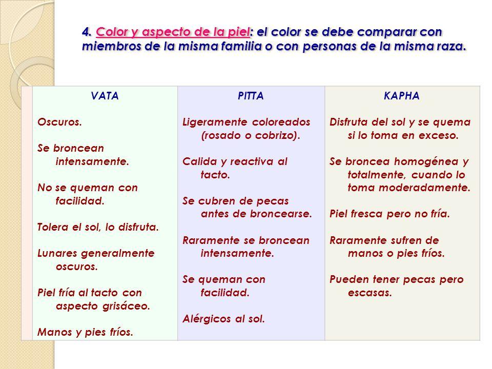 4. Color y aspecto de la piel : el color se debe comparar con miembros de la misma familia o con personas de la misma raza. 4. Color y aspecto de la p