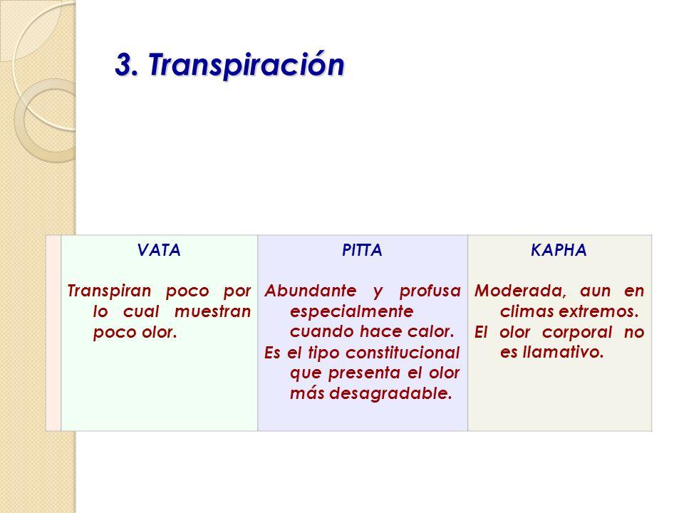3. Transpiración VATA Transpiran poco por lo cual muestran poco olor. PITTA Abundante y profusa especialmente cuando hace calor. Es el tipo constituci