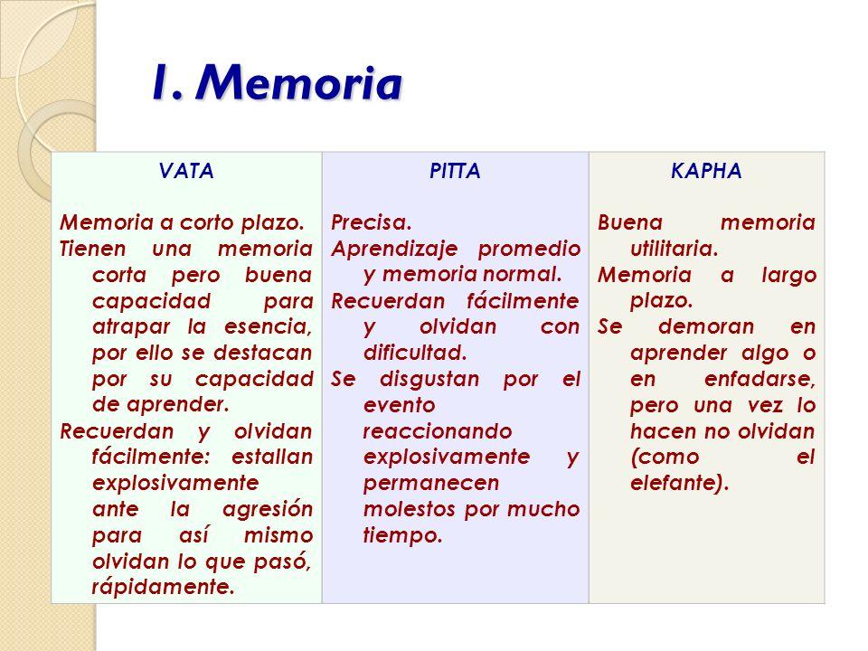 1. Memoria VATA Memoria a corto plazo. Tienen una memoria corta pero buena capacidad para atrapar la esencia, por ello se destacan por su capacidad de