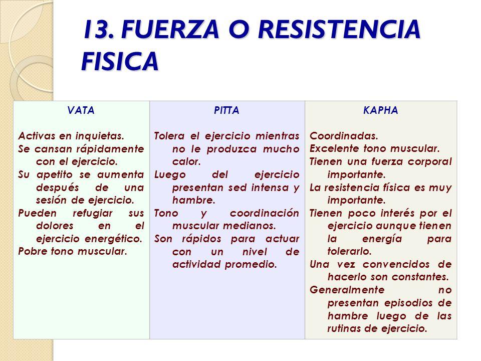 13. FUERZA O RESISTENCIA FISICA VATA Activas en inquietas. Se cansan rápidamente con el ejercicio. Su apetito se aumenta después de una sesión de ejer
