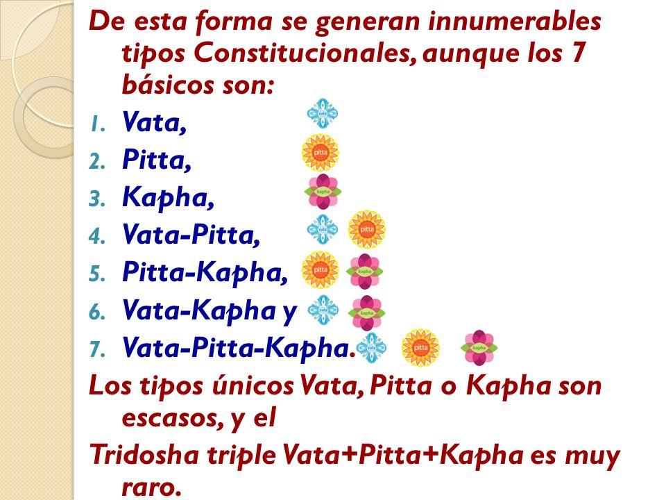 De esta forma se generan innumerables tipos Constitucionales, aunque los 7 básicos son: 1. Vata, 2. Pitta, 3. Kapha, 4. Vata-Pitta, 5. Pitta-Kapha, 6.