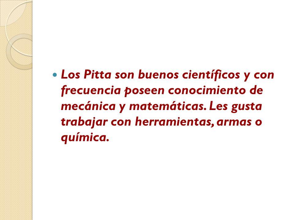 Los Pitta son buenos científicos y con frecuencia poseen conocimiento de mecánica y matemáticas. Les gusta trabajar con herramientas, armas o química.