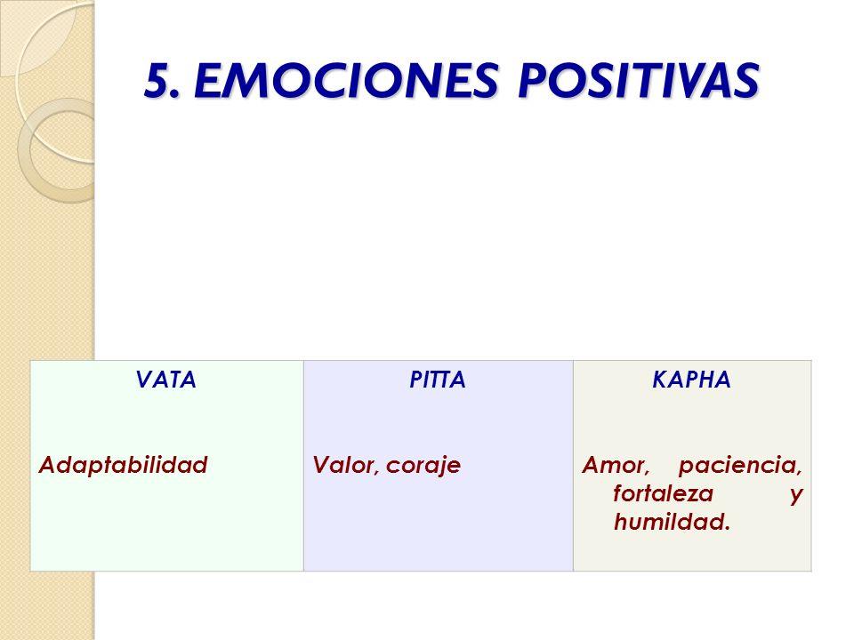 5. EMOCIONES POSITIVAS VATA Adaptabilidad PITTA Valor, coraje KAPHA Amor, paciencia, fortaleza y humildad.