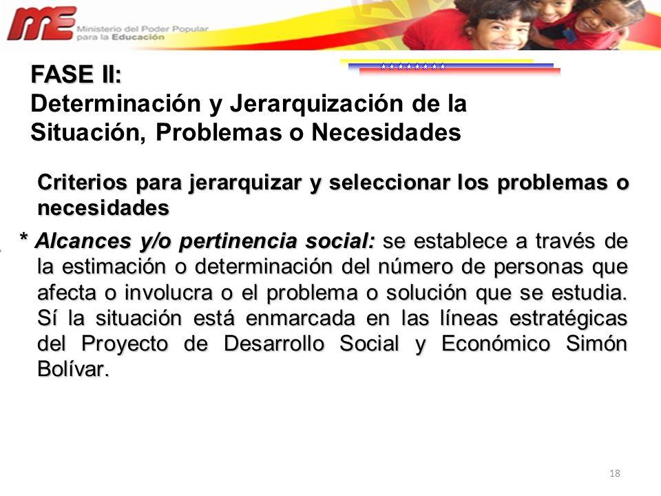 18 Criterios para jerarquizar y seleccionar los problemas o necesidades * Alcances y/o pertinencia social: se establece a través de la estimación o de