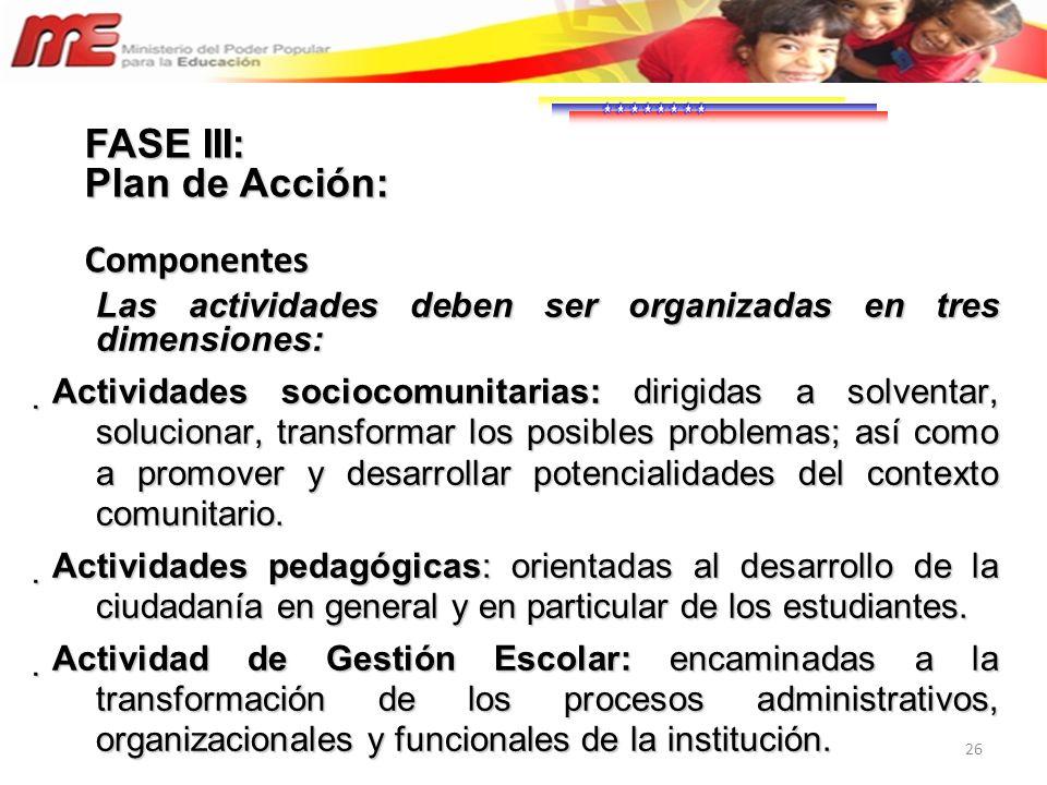 26 Las actividades deben ser organizadas en tres dimensiones: Actividades sociocomunitarias: dirigidas a solventar, solucionar, transformar los posibl