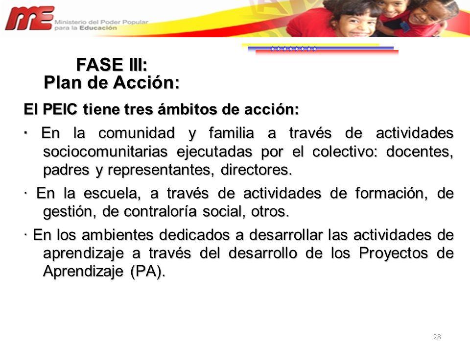 28 El PEIC tiene tres ámbitos de acción: · En la comunidad y familia a través de actividades sociocomunitarias ejecutadas por el colectivo: docentes,