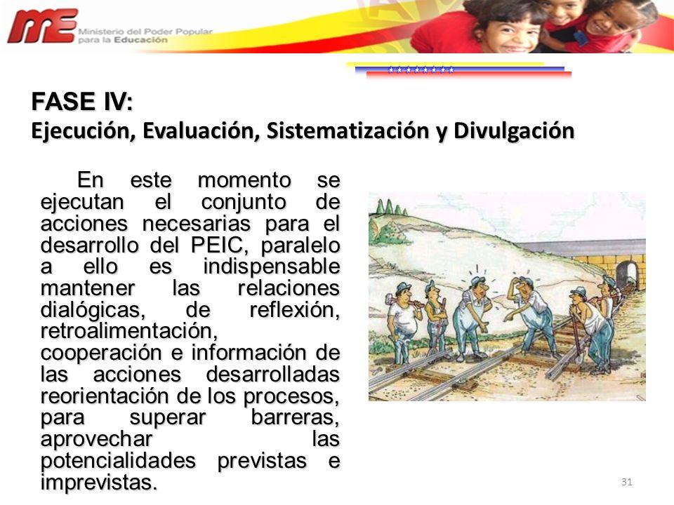 31 En este momento se ejecutan el conjunto de acciones necesarias para el desarrollo del PEIC, paralelo a ello es indispensable mantener las relacione