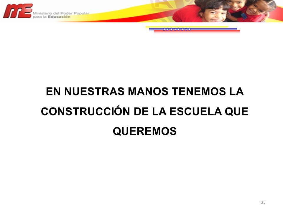 33 EN NUESTRAS MANOS TENEMOS LA CONSTRUCCIÓN DE LA ESCUELA QUE QUEREMOS