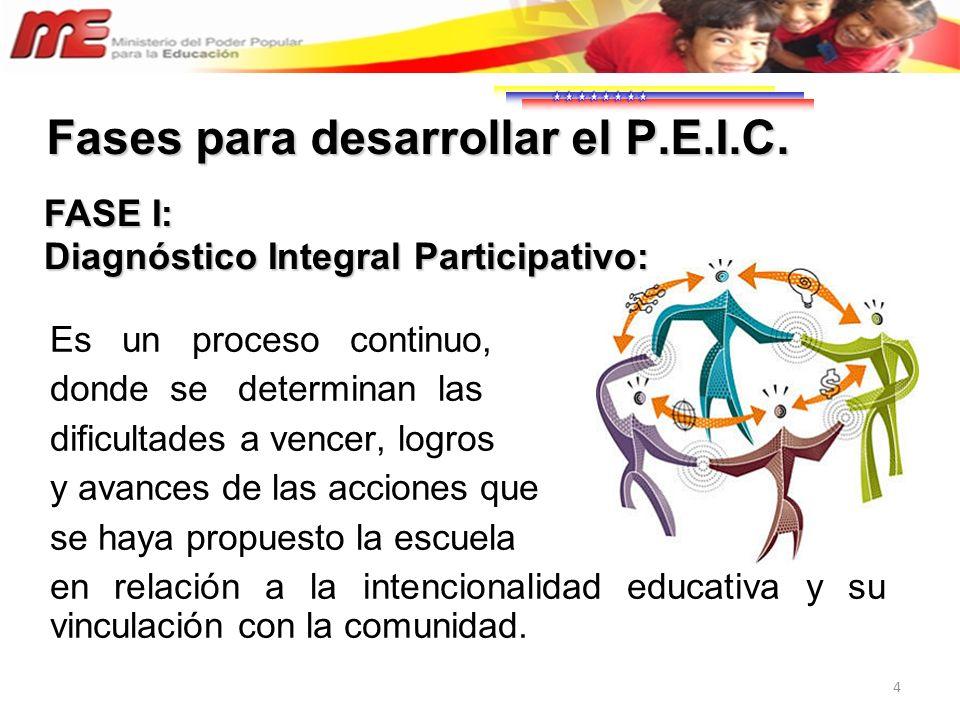 4 Fases para desarrollar el P.E.I.C. Es un proceso continuo, donde se determinan las dificultades a vencer, logros y avances de las acciones que se ha
