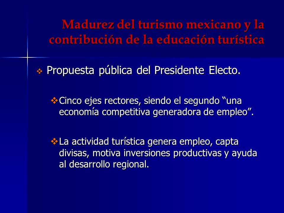 Madurez del turismo mexicano y la contribución de la educación turística Propuesta pública del Presidente Electo. Propuesta pública del Presidente Ele
