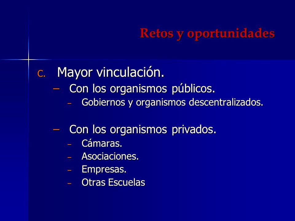 Retos y oportunidades C. Mayor vinculación. Con los organismos públicos.Con los organismos públicos. Gobiernos y organismos descentralizados. Gobierno