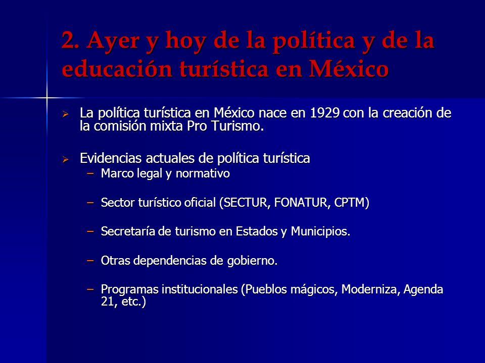 2. Ayer y hoy de la política y de la educación turística en México La política turística en México nace en 1929 con la creación de la comisión mixta P