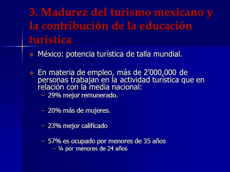 Madurez del turismo mexicano y la contribución de la educación turística Formación académica de un número importante de estos empleados.