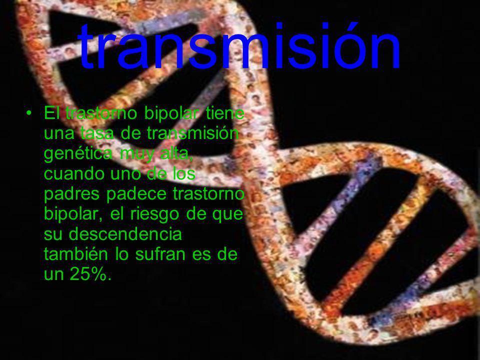transmisión El trastorno bipolar tiene una tasa de transmisión genética muy alta, cuando uno de los padres padece trastorno bipolar, el riesgo de que