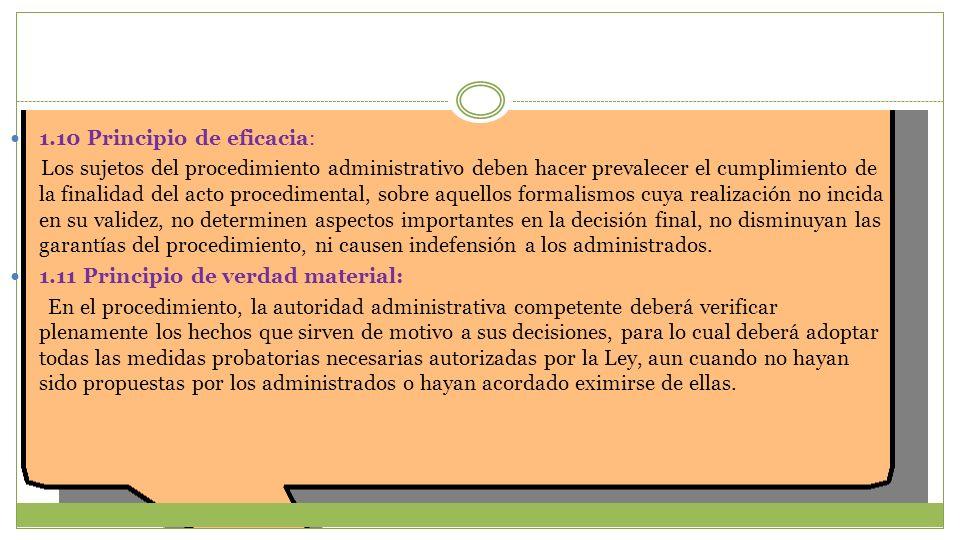 1.10 Principio de eficacia: Los sujetos del procedimiento administrativo deben hacer prevalecer el cumplimiento de la finalidad del acto procedimental