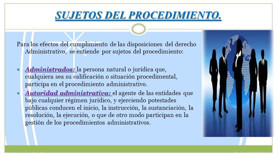 SUJETOS DEL PROCEDIMIENTO. Para los efectos del cumplimiento de las disposiciones del derecho Administrativo, se entiende por sujetos del procedimient