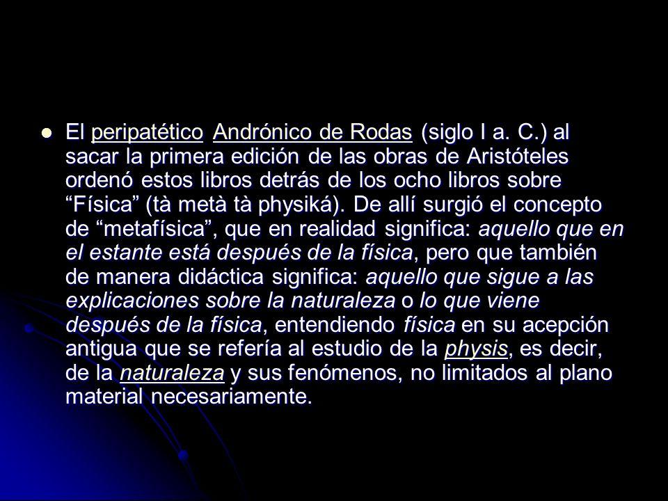 El peripatético Andrónico de Rodas (siglo I a.