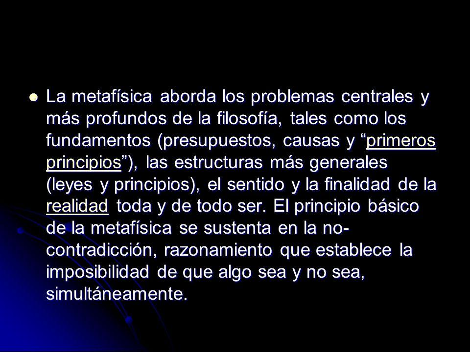 La metafísica aborda los problemas centrales y más profundos de la filosofía, tales como los fundamentos (presupuestos, causas y primeros principios), las estructuras más generales (leyes y principios), el sentido y la finalidad de la realidad toda y de todo ser.