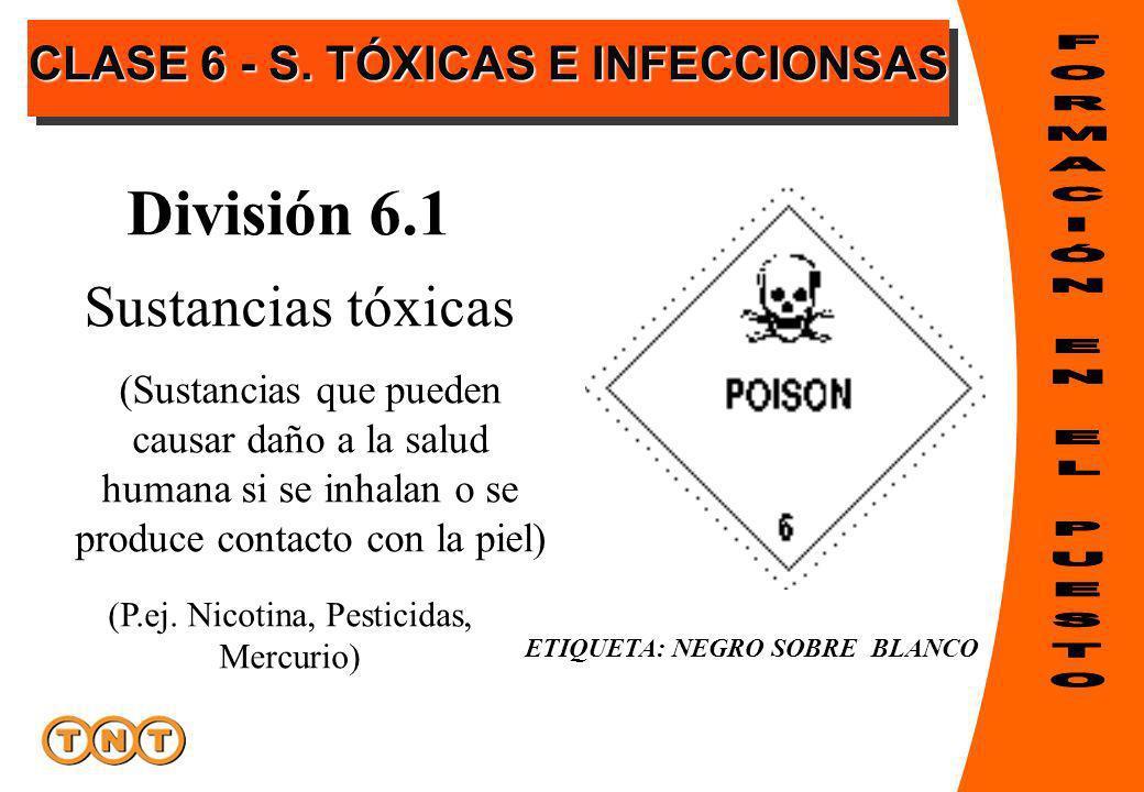 ETIQUETA: NEGRO SOBRE BLANCO División 6.1 (P.ej. Nicotina, Pesticidas, Mercurio) Sustancias tóxicas (Sustancias que pueden causar daño a la salud huma