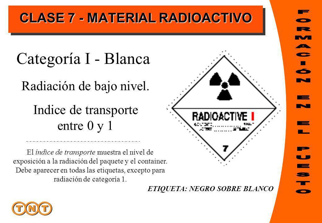 ETIQUETA: NEGRO SOBRE BLANCO Categoría I - Blanca El índice de transporte muestra el nivel de exposición a la radiación del paquete y el container.