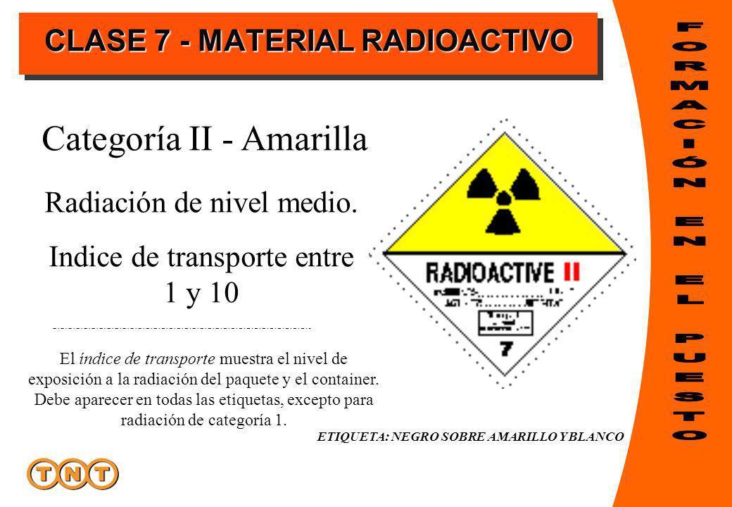 Radiación de nivel medio. Indice de transporte entre 1 y 10 Categoría II - Amarilla El índice de transporte muestra el nivel de exposición a la radiac