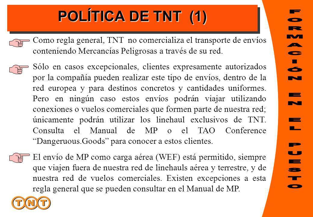 POLÍTICA DE TNT (1) Como regla general, TNT no comercializa el transporte de envíos conteniendo Mercancías Peligrosas a través de su red. Sólo en caso