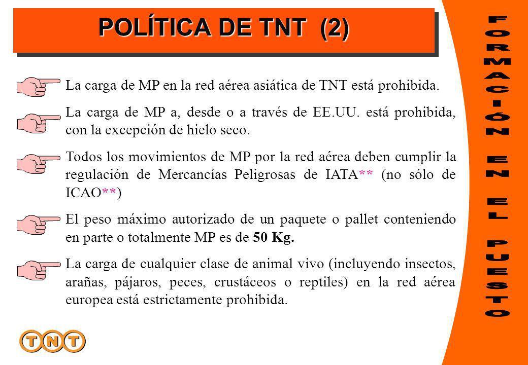 POLÍTICA DE TNT (2) La carga de MP en la red aérea asiática de TNT está prohibida. La carga de MP a, desde o a través de EE.UU. está prohibida, con la